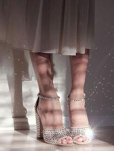 Sandálias de Salto Alto Peep Toe Damasco Rebites Tira No Tornozelo Sapatos de Festa Mulheres Sapatos de Baile
