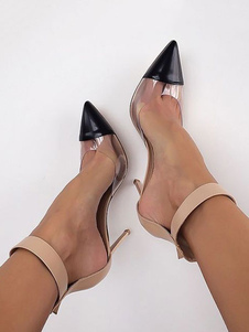 Sapatos Mulheres De Salto Alto 2020 Toe Apontado Retalhos Salto Estiletetira No Tornozelo Pumps