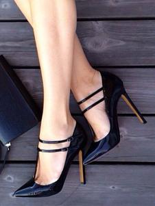 Negros Zapatos de Tacón Alto de Mujer 2020 Zapatos Mary Jane de Punta Puntiaguda Zapatos Sexy de Tacón de Aguja