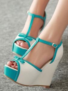 Branco Sandálias De Cunha Mulheres Peep Toe Bow T Tipo Fivela Sapatos Sandália Detalhe