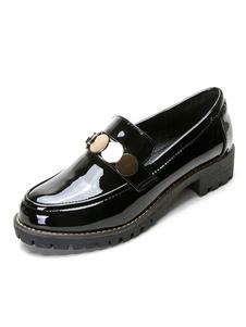 أسود النساء المتسكعون جولة تو المعادن التفاصيل الانزلاق على حذاء مسطح
