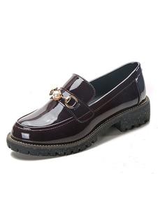 Женские Бургундские лоферы с круглым носком Жемчужные туфли