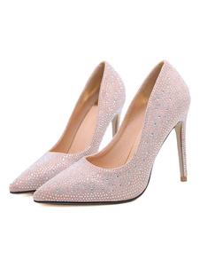 Zapatos de noche de color rosa Puntera puntiaguda de ante Resbalón en bombas Zapatos de fiesta de tacón alto