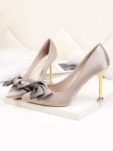 Scarpe da sera donna con tacco alto in raso Scarpe con fiocco sulle scarpe da sera