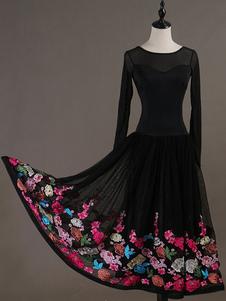 Traje de dança de salão preto floral mulheres manga comprida formação dança vestidos Halloween