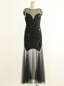 1920-х годов Великий Гэтсби Костюм Хлопушка Платье Черный Хэллоуин Старинные Женщины Блестки Платья