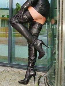 Черные сексуальные сапоги на высоком каблуке с острым носом на высоком каблуке