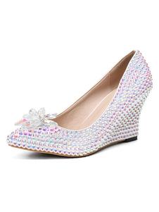 Zapatos de fiesta para las mujeres Punta estrecha Rhinestones Cuña Zapatos de noche