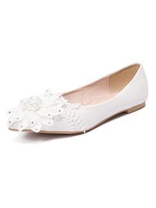 الزفاف الأبيض الشقق وأشار زهور أصابع أحذية التفصيل وصيفة الشرف