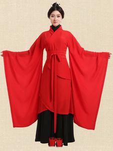 عيد الرعبزي الصينية القديمة hanfu الزي التقليدي الأحمر النساء هالوين