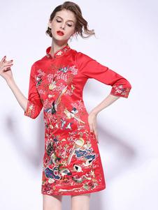 Costume Carnevale Costume cinese Qipao vestito da donna rosso ricamato cheongsam abiti di  Costume Carnevale