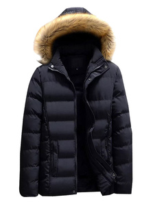 Homens Preto Parka Furry Hood Casaco Acolchoado Algodão Preenchimento Casaco de Inverno Ocasional
