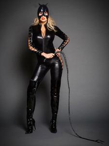 قطب رقص Catsuit جلد أسود مثل ربط الحذاء حتى كم طويل بذلة مع قناع