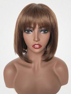 Парики из натуральных волос темно-коричневые прямые волосы парики с челкой