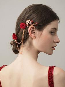 أحمر الزفاف أغطية الرأس زهرة سلاسل مزدوجة مشط الشعر زينة الزفاف