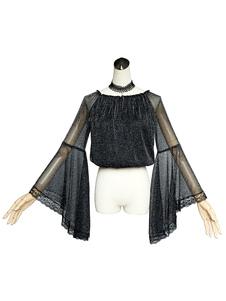Blusa de lolita gótica Soul Hall Encaje Semi Sheer Tiro plisado Seda Lolita negra