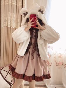 Sweet Lolita Overcoat Milk Coffee Bear Bow Abrigo de Lolita de piel sintética con capucha