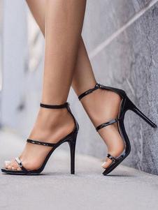 Sandálias De Salto Alto Mulheres Dedo Aberto Tiras Sandália Sapatos Vestido Preto Sandálias
