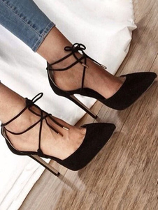 Sapatos Camurça De Salto Alto 2020 Mulheres Apontou Toe Com Laços Bombas