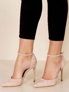 Sapatos De Vestido 2020 De Damasco Mulheres De Salto Alto Bombas Camurça Dedo Apontado Tira No Tornozelo