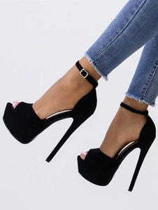 Sandalias Negras Sexy de Ante 2020 Peep Toe con Plataforma Correa de Tobillo Sandalias de Tacón Alto Para Mujer