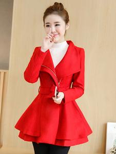Mulheres Casaco de Inverno Turndown Collar Pockets Tie Cintura Swing Coat