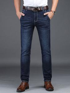 جينز بقصة مستقيمة داكن جينز رجالي باللون الأزرق الداكن