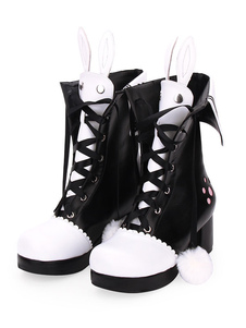 Classic Lolita Boots Pom Pom Bunny Ear Two Tone Chunky Heel PU Lolita Shoes