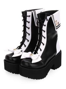 Botas Lolita clásicas con cordones y plataforma en dos tonos Zapatos Lolita negros