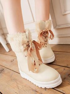 أحذية لوليتا الكلاسيكية الدانتيل يصل فروي أفخم بو أحذية لوليتا
