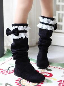 أحذية لوليتا الحلو الرباط القوس من جلد الغزال لوليتا أحذية