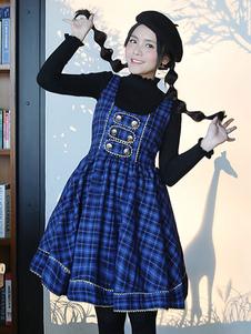 Clássico lolita JSK vestido botão decoração xadrez azul Lolita jumper saia