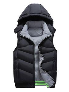 Homens colete acolchoado com capuz de inverno Gilet Cotton Fill Zipper Black Puffer Jacket
