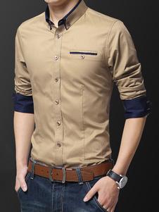 Homens Vestido Camisa Plus Size Dois Tons Botão Para Baixo Slim Fit Camisa Formal de Manga Longa