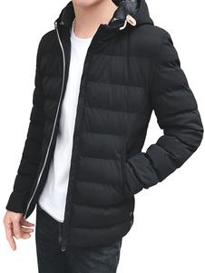 Preto para baixo de casaco com capuz manga longa Slim Fit Parkas casaco para homens