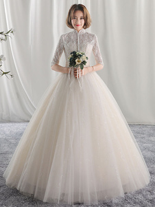 Ivory Bridal Dress Princess Ball Gown Свадебные платья Высокий воротник Кружева Half Sleeve Плиссированные кнопки Tulle Floor Length Bridal Gown