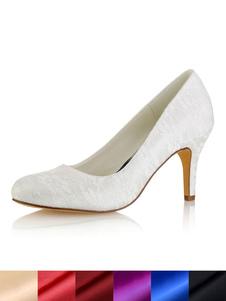 العاج أحذية الزفاف جولة تو الرباط الانزلاق على أحذية عالية الكعب الزفاف