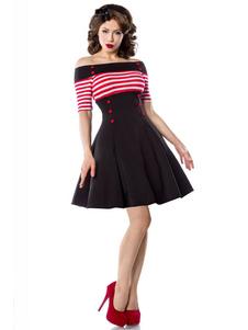 خمر 1950s اللباس المرأة قبالة الكتف المشارب زر الجبهة نصف كم فساتين سوينغ