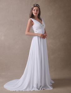Vestido de novia blanco satinado de satén gasa con faja real