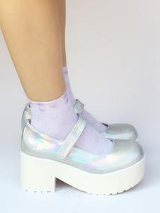 Zapatos de lolita de PU de puntera redonda Color liso plateados