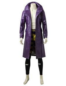 DC Comics Suicide Squad Джокер Cosplay Искусственная кожаная куртка Длинная куртка Хэллоуин