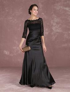 Vestido para la madre de los novios negro con escote redondo con 1/2 manga con pliegues