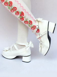 Scarpe da Lolita bianche rotondo tacco largo PU 4.5cm