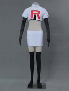 Carnevale Pokemon Jessie set bianco Anime Giapponese donna in panno uniforme canotta&Calze sopra al ginocchio&gonna&top&guanti
