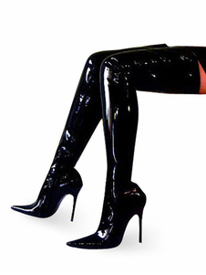 ارتفاع كعب الحذاء الأسود براءات الاختراع على الأحذية في الركبة أحذية نسائية مثير