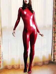 Macacão de Latex Catwoman manga longa vermelho Halloween