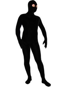 Costume Carnevale Zentai collant per adulti con fori per occhi lycra spandex nero tinta unito per uomo tuta