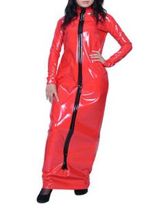Disfraz Carnaval Toga de PVC rojo con cremallera Halloween Carnaval