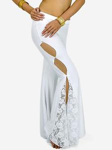 Branco cortado Lace decoração algodão mistura Womens Belly Dance Pants