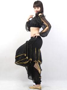 Черный вырезать из хлопка верхнего Ruffles штаны Blend танец живота рынк снаряжение